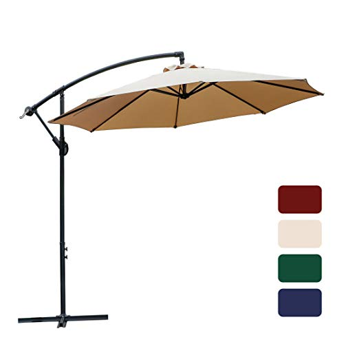 FARLAND 10 ft Offset Cantilever Patio Umbrella Outdoor Market Hanging Umbrellas & cranks, 8 Ribs (Beige)