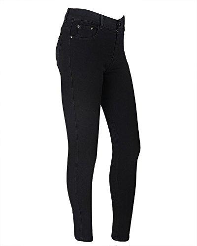 Femmes Chic Slim Fit Couleur Unie  Glissire Arrire Jeans Jeggings Maigre Pantalons Noir