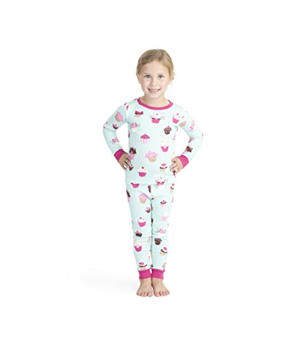 Hatley Big Girls' Organic Cotton Long Sleeve Printed Pajama Sets, Cute Cupcakes, 10 Years - Cupcake Pajama Set