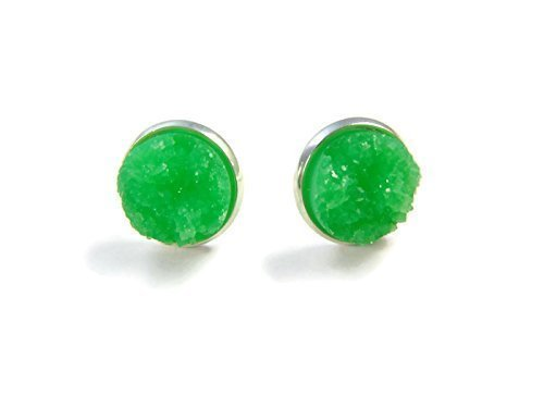 Neon Green Druzy Stud Earrings - Silver Stud Earrings for Women - Gemstone Jewelry for Women - Sparkly Earrings