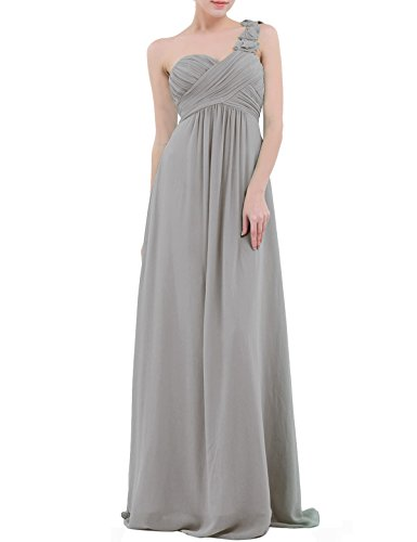 YiZYiF Chiffon Applique One Shoulder Long Bridesmaids Party Dress Gray 10