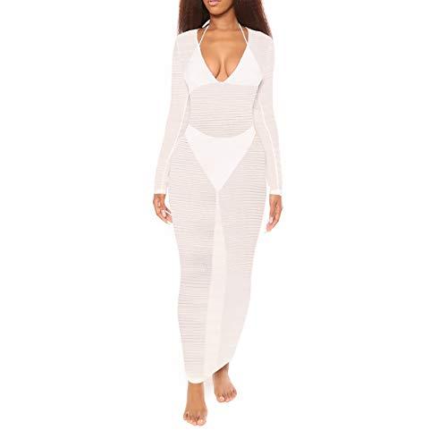 (NE Norboe Women's V Neck Long Sleeve Bikini Cover up Net Beach Swimsuit Bathing Suit Crochet Dress (White, m))