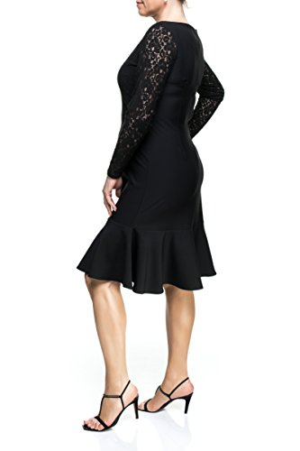 Designer Damen Kleid Spitzen Abendkleid Frauen Empire Festlich Feierlich auch Große Größen, Ballkleid Cocktailkleid Hochzeit Partykleid verziert Schicke Verarbeitung Langarm