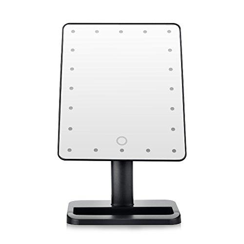 Dproptel 20 LEDs Makeup Spiegel mit Beleuchtung Kosmetikspiegel Beleuchteter Standspiegel Schminkspiegel Tischspiegel Schwarz