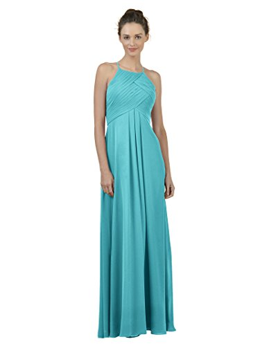 Alicepub Long Chiffon Bridesmaid Dress Maxi Evening Gown A Line Plus Party Dress, Turquoise, US10]()