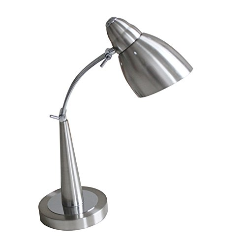 Adjustable Desk Lamp Arm Swing (PHILANY Stainless Steel Desk Lamp, Adjustable Swing Arm With LED Bulb, Black and Brass Shade)
