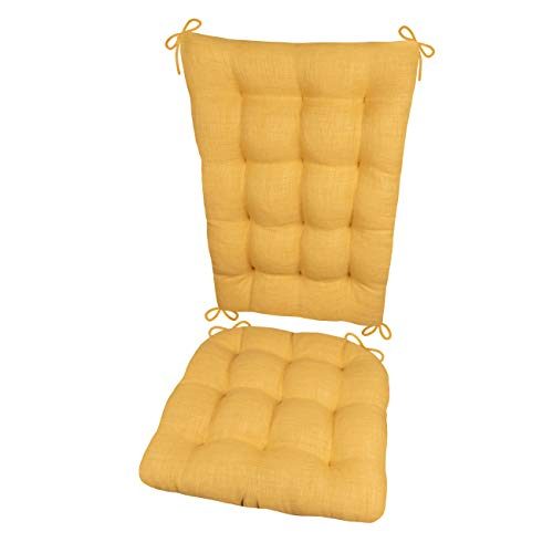 (Porch Rocker Cushions - Rave Yellow Gold - Size Extra-Large - Indoor / Outdoor: Fade Resistant, Mildew Resistant - Latex Foam Filled Seat Pad and Back Rest, Reversible, Machine Washable)