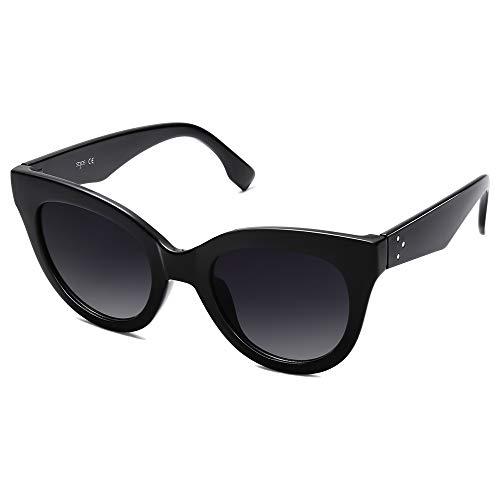 SOJOS Retro Vintage Oversized Cateye Women Sunglasses Designer Shades HOLIDAY SJ2074 with Black Frame/Gradient Grey Lens
