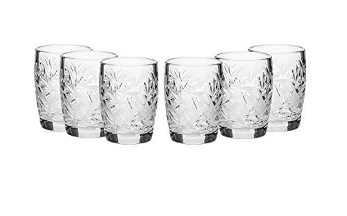 - SET of 6 Russian Vintage CUT Crystal Stemless Shot Vodka Glasses 1.5 Oz / 50 ml, Old-fashioned Handmade European Crystal Gift Set