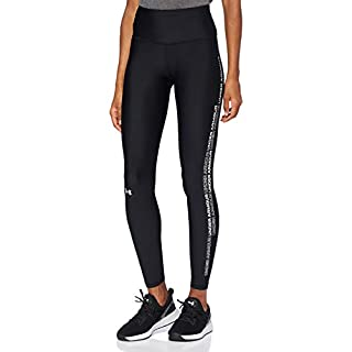 Under Armour Women's HeatGear Armour WordMark Leggings , Black (001)/White , Large