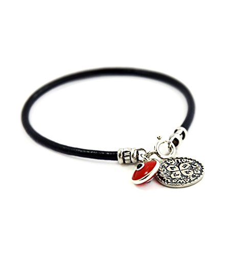 (MIZZE Made for Luck Men's Black Leather Charm Bracelet with Love Solomon Seal Coin Amulet & Red Glass Evil Eye)