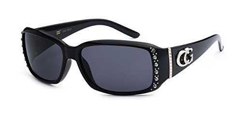 CG Eyewear Two Tone Rhinestone Square Colorful Women Girls Fashion Hot Sunglasses (Square - Sunglasses Ce