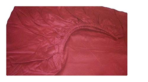 Scala Hotel Design Thread Count 650 Egyptian Cotton Twin XL 1 Piece Fitted Sheets Only (Bottom Sheets) Solid Deep Pocket 12 Inches Burgundy