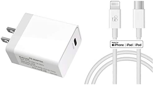 30W High Power Fast Charger Power Supply Adapter + Type USB C to Lighning Cable [ Apple MFi Certified ] for New iPhone 12/12 Max / 12 Pro Mini SE 2 11 8 7 Plus Max XS X iPad Pro 12.9 11