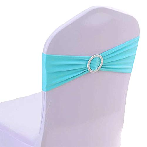 50PCS Spandex Chair Sashes Bows Elastic Chair Bands With Buckle Slider Sashes Bows For Wedding Decorations sy66