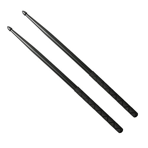 Nylon Drumsticks for Drum Set 5A Light Durable Plastic Exercise ANTI-SLIP Handles Drum Sticks for Kids Adults Musical Instrument Percussion Accessories (Black)
