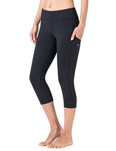 New Black Leggings - Naviskin Women's Yoga Running Capri Leggings Workout Outdoor Capri Pants Side Pockets Black Size S