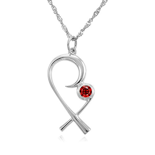The Mommy Pendant - Silver Mother Child Necklace with (January) Birthstone Garnet - Designer Gift Box - Christmas, Push Present for wife, mom