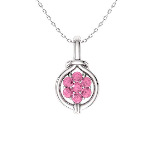 (Diamondere Natural and Certified Pink Tourmaline Cluster Infinity Knot Necklace in 14k White Gold | 0.21 Carat Pendant with Chain)
