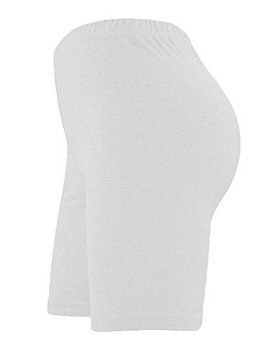 lunghi da fin lycra White sportivi al elasticizzato in pantaloncini ginocchio sopra e donna Elegance cotone vqzZE56wZn