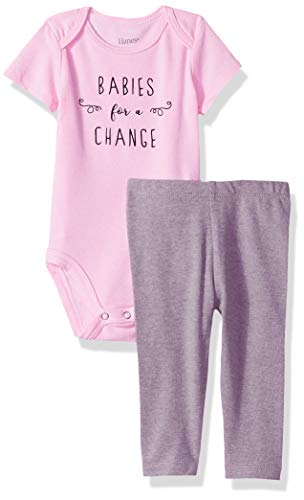Hanes Ultimate Baby Girls Flexy 2 Piece Set (Pant with Short Sleeve Bodysuit), Pink/Grey, 6-12M