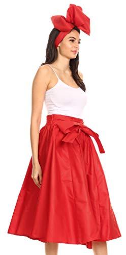 Sakkas 16321 - Celine African Dutch Ankara Wax Print Full Circle Skirt - Red - OS