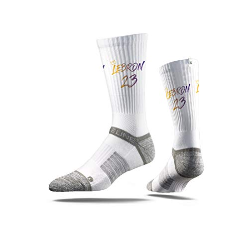 Strideline NBA Los Angeles Lakers LeBron James, White Jersey Premium Athletic Crew Socks, One Size ()