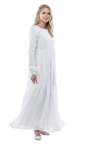 Embroidered Fully Lined Skirt - ModWhite White Lavender Dress (Small)