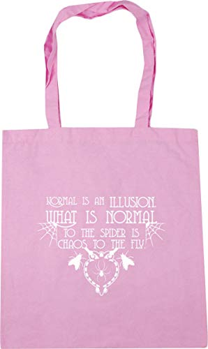 HippoWarehouse Normal Is An Illusion. What Is Normal To The Spider Is Chaos To The Fly.Tote Shopping Gym Beach Bag 42cm x38cm, 10 litres Classic Pink
