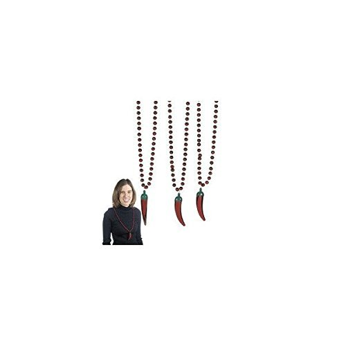 - METALLIC CHILI PEPPER BEADED NECKLACE (2 DOZEN) - BULK