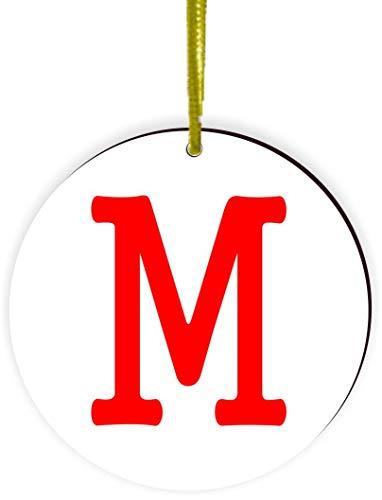 Round Ornament Ornament Round (Rikki Knight Bold Letter M Initial Monogram (Red) Design Round Ornament/Car Rear View Mirror Hanger)