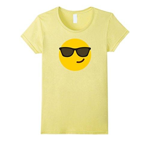 Womens Halloween Sunglasses Smiling Emoji Costume Shirt Large Lemon - Smiling Emoji Adult Mask