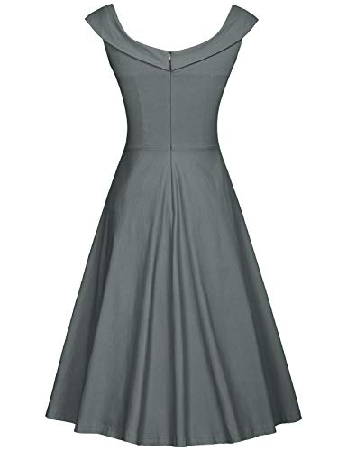 Neck MUXXN Grey Shoulder Cocktail Dress Pure 1950s Scoop Off Women's wHvHtfq