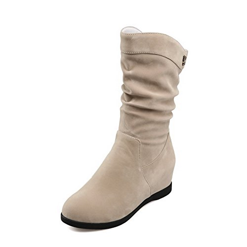 Low Beige on Pull Kitten Frosted Women's Allhqfashion Round top Closed Boots Toe Heels TS7f5wnIqn