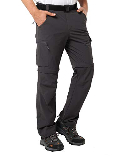 MIER Men's Convertible Pants Hiking Pants Quick Dry Cargo Pants Lightweight Comfort Stretch for Travel, Graphite Grey, XXL