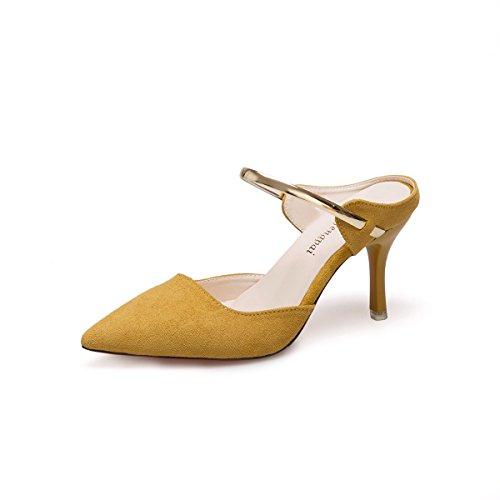 GAOLIM Mujeres Zapatos De Tacón, Zapatillas De Punta De Verano Cool Zapatillas Mujeres Bellas Con High-Heel Shoes Baotou Femenino Sandalias Planas, Como (3-5Cm) Amarillo