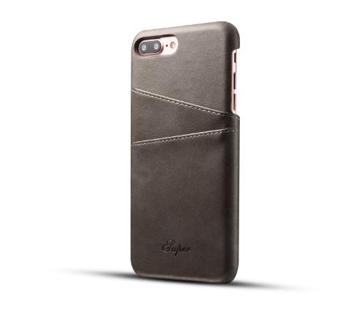 iPhone 7 Plus Luxury Synthetic Leather Case,Aulzaju iPhone 8 Plus Super Slim Cow Leather Credit Card Case Fashion Comforatable Wallet Cover for iPhone 7 Plus/8 Plus-Gray by Aulzaju (Image #3)