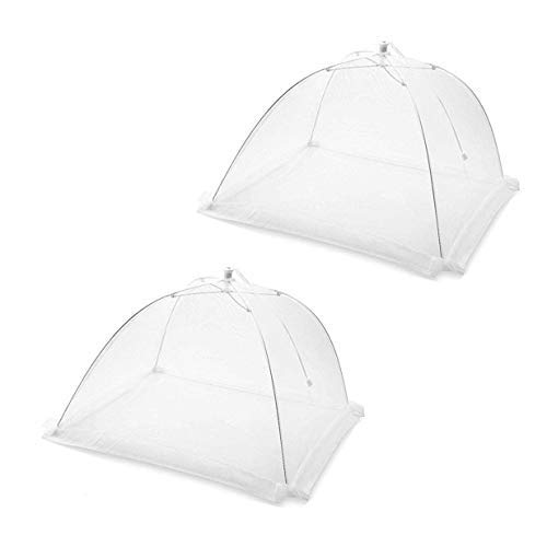 NeDonald Set of 2 Large Pop-Up Mesh Screen Food Cover Tents - Keep Out Flies, Bugs, Mosquitos - Reusable - Colours May Vary