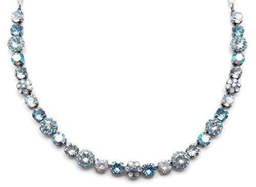 Mariana Italian Ice Swarovski Crystal Silvertone Necklace Light Blue & Clear Flower Mosaic 141 (Flower Ice Swarovski)