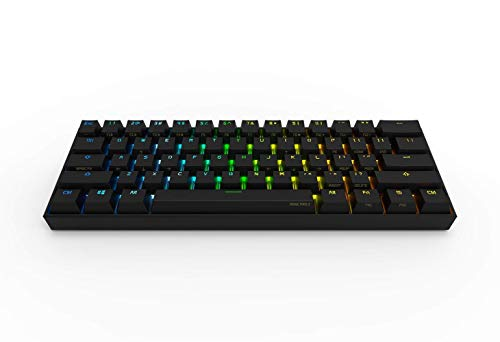 Anne Pro 2 Mechanical Gaming Keyboard 60% True RGB Backlit - Wired/Wireless Bluetooth 4.0 PBT Type-c Up to 8 Hours Extended Battery Life, Full Keys Programmable by Obins (Gateron Brown, Black) ()