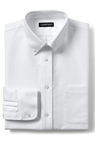 Lands' End School Uniform Men's Long Sleeve Oxford Dress Shirt White ()