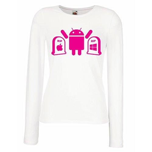 Camisetas de Manga Larga para Mujer El ganador es Android - regalo para los fanáticos de la tecnología Blanco Magenta