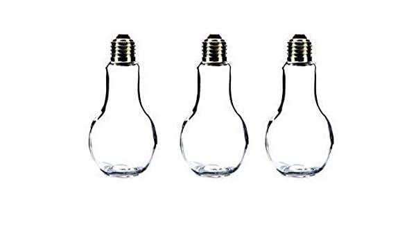 Botella decoración Botella de vidrio 3 Piezas 14,5 cm de alto Plata Bombilla de luz Florero de mesa Cristal florero botella Plantas Terrario bombilla Vidrio ...
