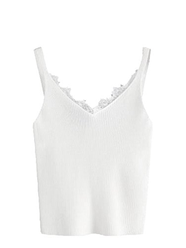 Cropped V-neck Top - MakeMeChic Women V Neck Lace Trim Sleeveless Knit Cami Tank Crop Top 2 One-Size, White