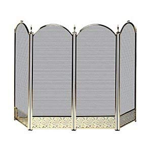 (POLISHED BRASS FIREPLACE SCREEN W/ DECORATIVE FILIGREE)