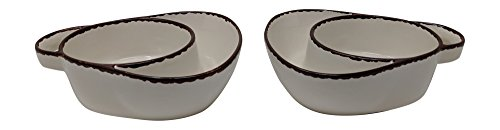 - Gianna's Home Set of 2 Rustic Farmhouse Country Stoneware Distressed Soup and Side Chip and Dip Bowls With Handles (Ivory)