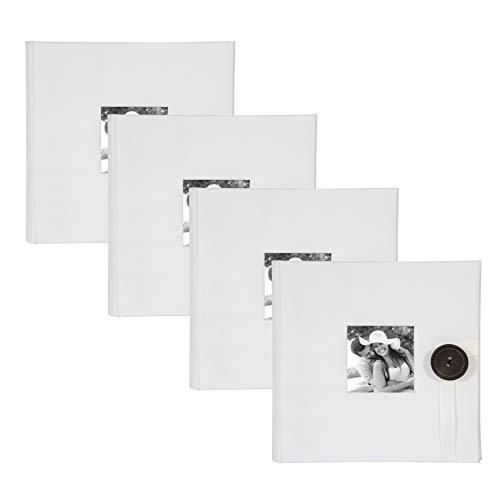DesignOvation Kim Ivory Fabric Photo Album with Ribbon and Button Closure, Holds 100 5x7 or 200 4x6 Photos, Set of 4