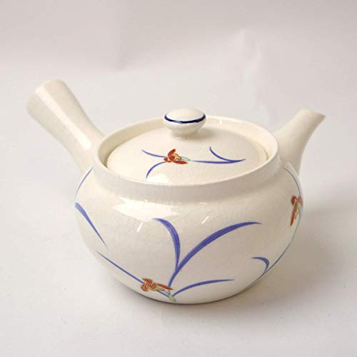 Okura Ceramics Japanese Ceramic Kyusu Teapot with Mesh Strainer 300ml - White with Orchids 6097523S1