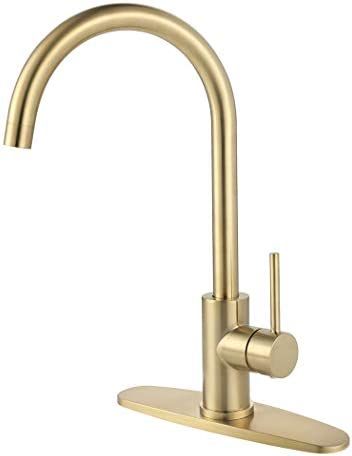 Kitchen Faucet, AmirL Modern Touchless Bar Sink Single Handle Faucets with Hole Cover Deck Plate Lead Free Brushed Gold