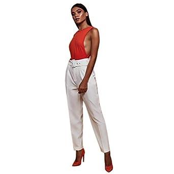 SODIAL Pantalones Informales de Cintura Alta de Primavera ...